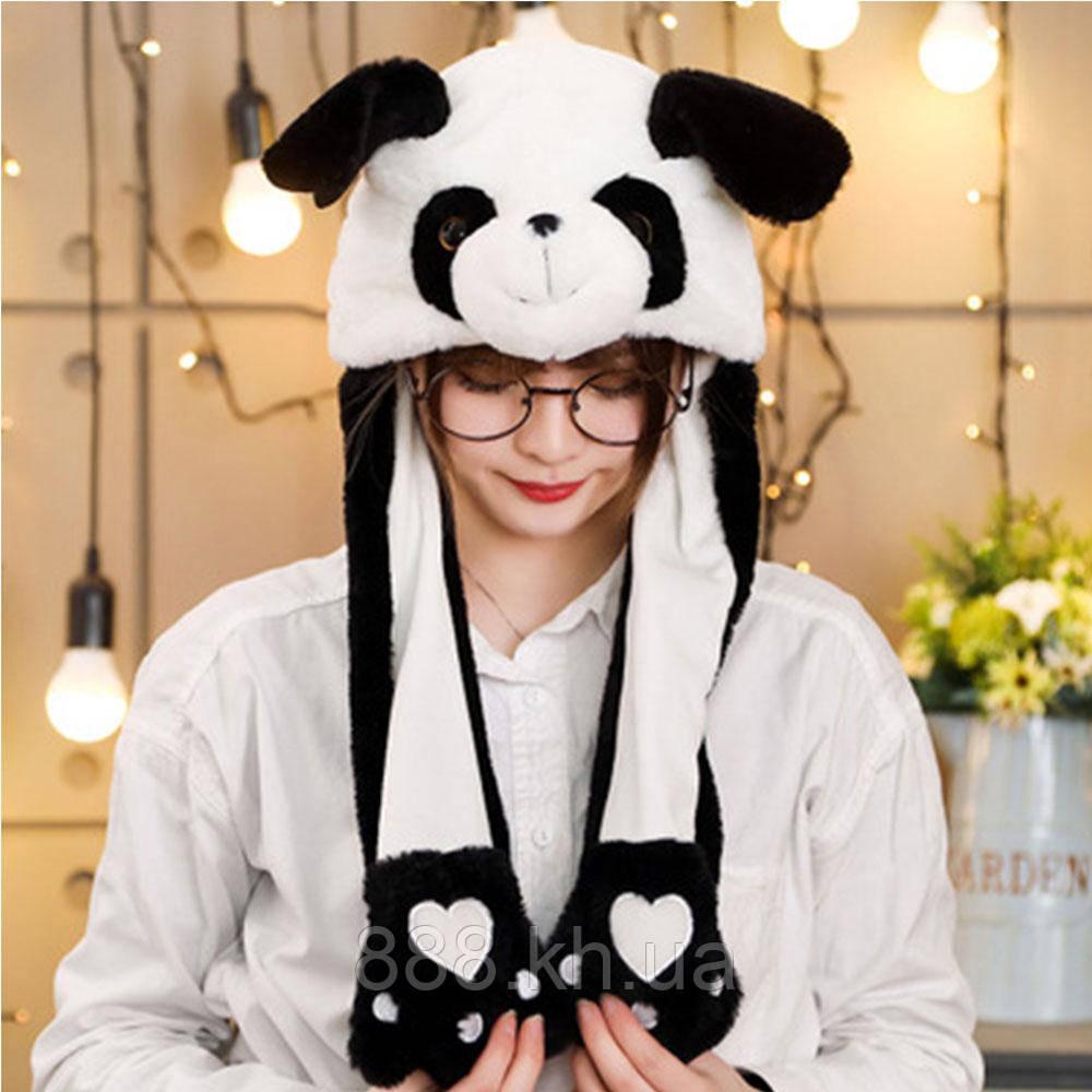 ХИТ!!! Шапка кигуруми с двигающимися ушками, зверошапка (Панда)