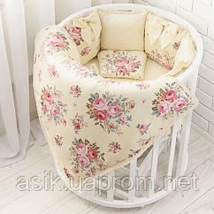 """Ліжко в круглу ліжечко """"Ніжність"""" молочного кольору (6-363кр)"""