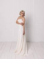 Классическое свадебное платье с кружевом на бретелях, фото 2