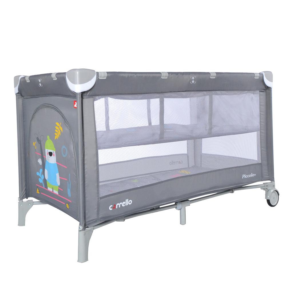 Детский манеж-кровать  со вторым дном CARRELLO Piccolo+ /Ash grey