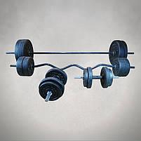 Набір: штанга пряма та з W-подібним грифом + гантелі | 101 кг, фото 2
