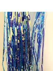 Шторка-занавес серебро хамелеон голубой  100 х 200 см
