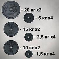 Набір: штанга пряма та з W-подібним грифом + гантелі | 142 кг, фото 4