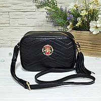 Женская сумка из натуральной кожи черного цвета. Производство Украина