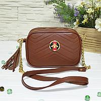 Женская сумка из натуральной кожи рыжего цвета. В наличии
