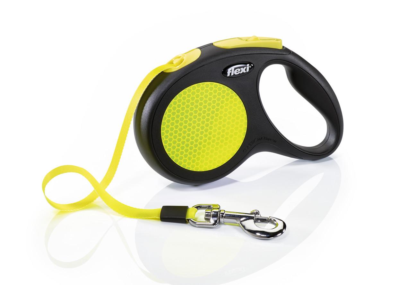 Поводок рулетка FLEXI Neon L, для собак вагою до 50 кг, стрічка 5 метрів