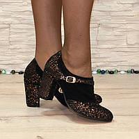 Женские туфли на невысоком каблуке, натуральная замша с лазерным напылением. 39 размер
