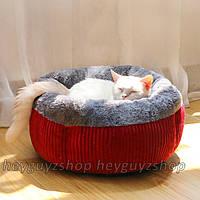 Лежак для кошки собаки мягкий premium качество бордовый
