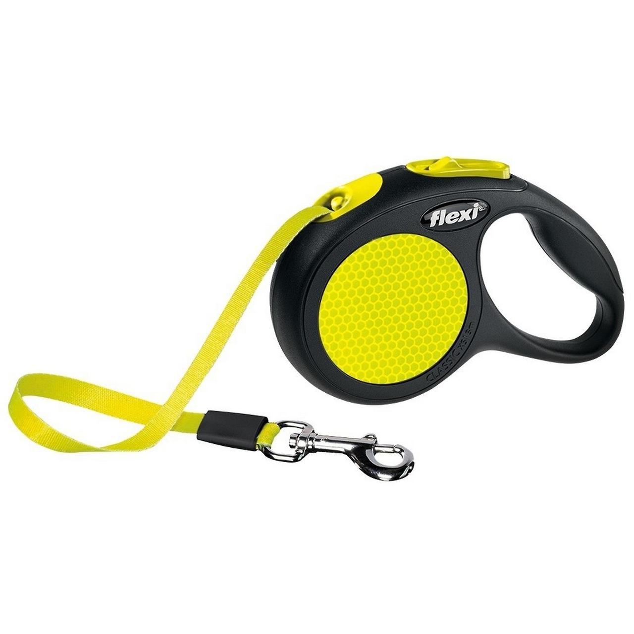 Поводок рулетка FLEXI Neon S, для собак вагою до 15 кг, стрічка 5 метрів