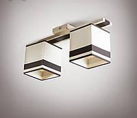 Люстра 2 ламповая, дерево, для спальни, кабинета, прихожей