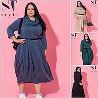 Р 52-62 Утеплене трикотажне плаття в стилі Бохо Батал 20819, фото 1