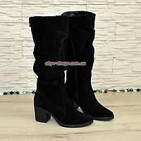 Сапоги женские демисезонные на устойчивом каблуке, натуральная черная замша. 38 размер