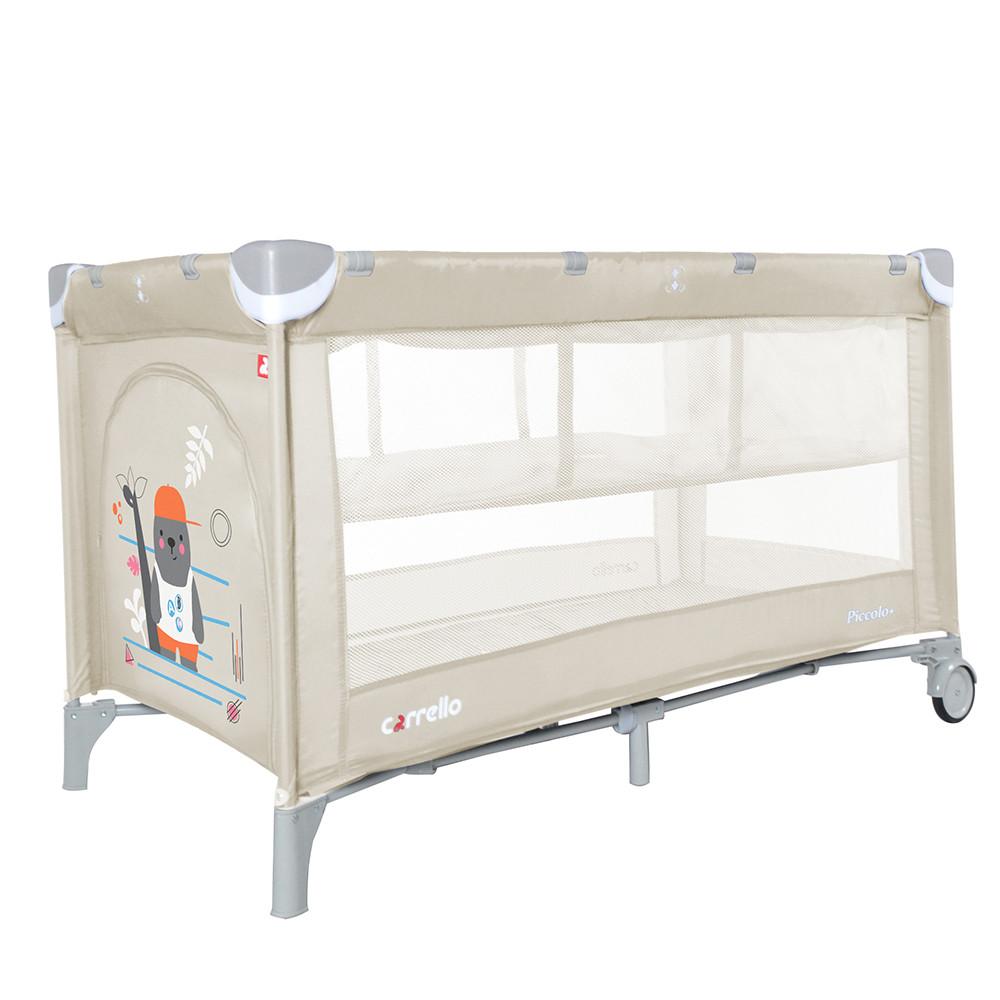 Детский манеж-кровать  со вторым дном CARRELLO Piccolo+ / Cream Beige