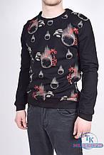 Батник мужской трикотажный (цв.черный) Adidas 9836 Размер:44,46