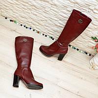 Сапоги бордовые кожаные демисезонные на устойчивом каблуке. 38 размер