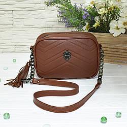 Женская сумка из натуральной кожи коричневого цвета. В наличии