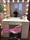 """Стол для визажиста """"Кристалл"""", гримерное зеркало с подсветкой,туалетный столик для макияжа, белый, фото 9"""