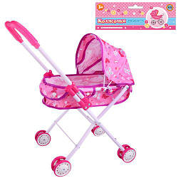 Коляска для кукол M 0354 U/R зимняя 4 двойных колеса розовая