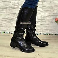 Женские классические кожаные сапоги на невысоком каблуке. Батал! 40 размер, голень 48 см