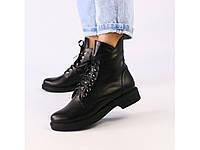 Ботинки демисезонные женские из натуральной кожи черные