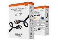 HDMI кабель Inakustik v2.0 видео звук, медный, тройное экранирование, позолоченные контакты, оригинал 1,5м