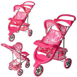 Прогулочная коляска для куклы 9614 трехколесная