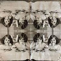 "Салфетка декупажная 25x25 см 15 ""Винтаж Дети чаепитие ретро старое фото"" Серветка для декупажу"