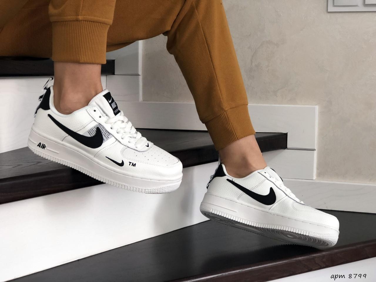 Підліткові (жіночі) кросівки Nike Air Force,білі з чорним