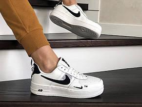 Підліткові (жіночі) кросівки Nike Air Force,білі з чорним, фото 3