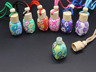Стеклянные бутылочки раскрашенные. МИКС. 51х33мм