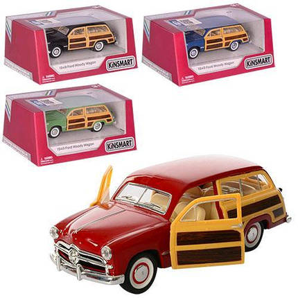 Машинка жел KINSMART KT5402W Ford Woody Wagon рез.кол откр.дв 4цвета в кор-ке 16-7-8 5см, фото 2