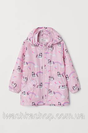 Розовая удлиненная ветровка с единорогами на девочек 2 - 3 лет, р. 98, H&M