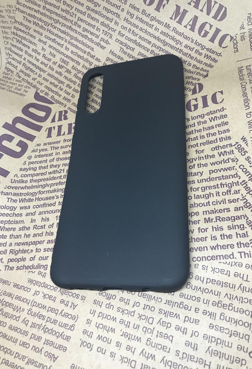 Samsung Galaxy A30S 2019 (A307F) матовый цветной силиконовый ультратонкий чехол/ бампер/ накладка черный