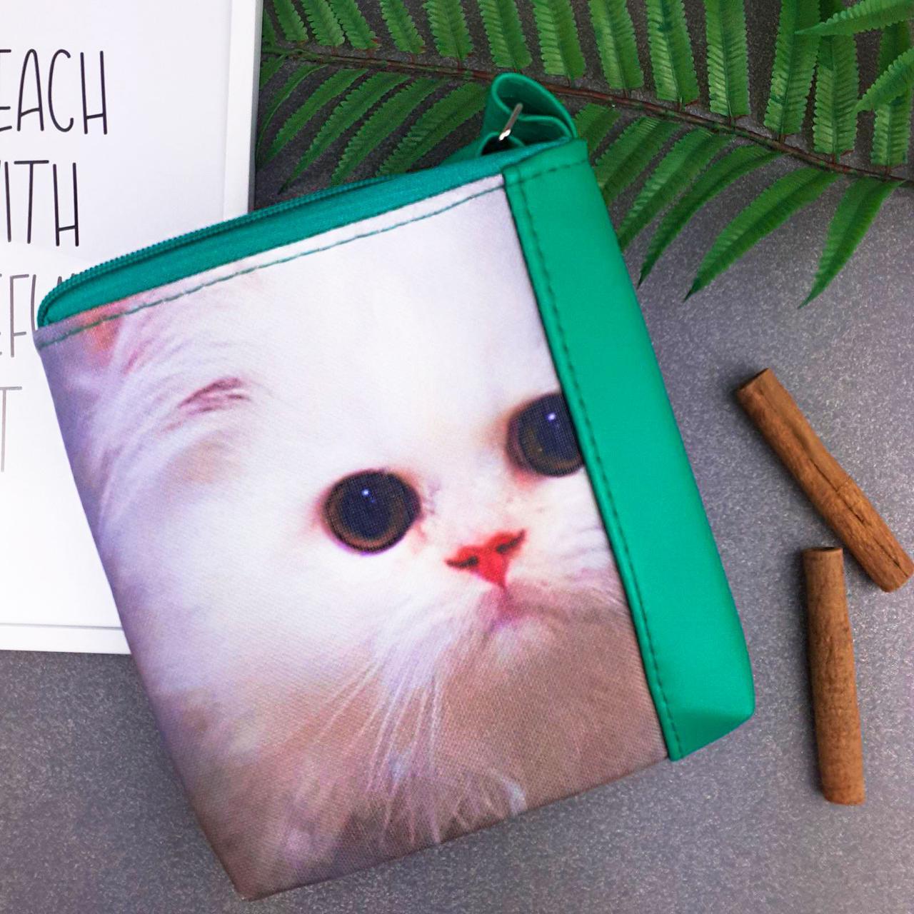 Сумка Moderika Mini Miss зеленая с рисунком Кошка (55050)