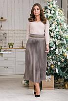Теплая юбка макси размер 44-48 плиссе юбка гофре шерсть вязаная длинная, фото 2