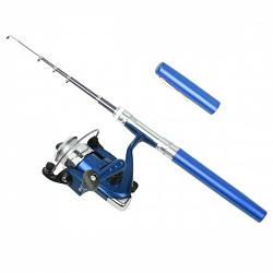 Карманная мини портативная удочка Pocket Pen Fishing Rod с катушкой Blue