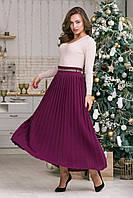 Теплая юбка макси размер 44-48 плиссе юбка гофре шерсть вязаная длинная