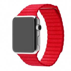 Ремешок для смарт-часов Apple Watch 4244mm Leather Loop Red, фото 2