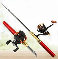 Карманная мини портативная удочка Pocket Pen Fishing Rod с катушкой Red