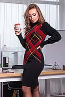 Платье зимнее вязаное теплое в клеточку шерсть 44-52
