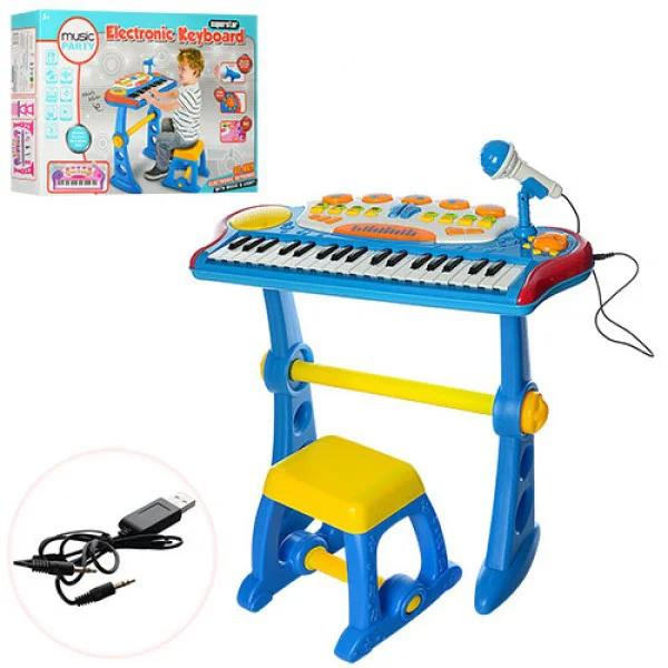 Синтезатор з мікрофоном і ПІД стільчиком-30 рожевий і синій