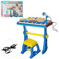 Синтезатор з мікрофоном і ПІД стільчиком-30 рожевий і синій, фото 1