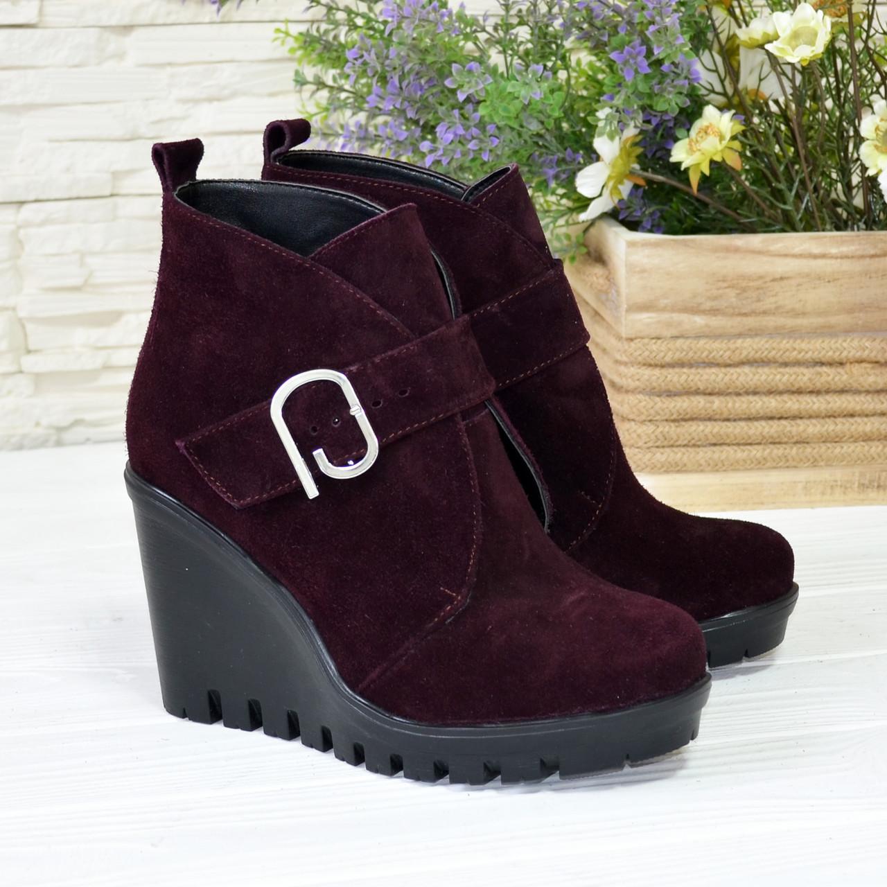 Ботинки замшевые зимние женские на высокой платформе, цвет фиолетовый