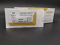 Кетгут хромований USP 3/0 (EP 3) з звор. ріж. голкою 20мм 3/8 кола