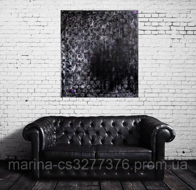 Картина Серые шарики 80х90 см холст масло галерейная натяжка индустриальная интерьерная живопись