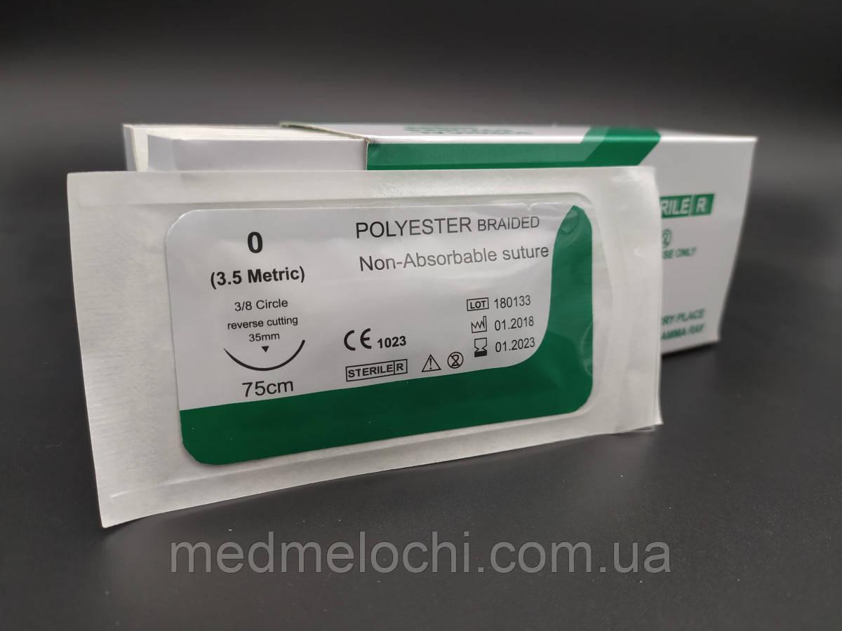 Поліестер USP 0 (EP 3,5) з звор. ріж. голкою 35мм 3/8 кола