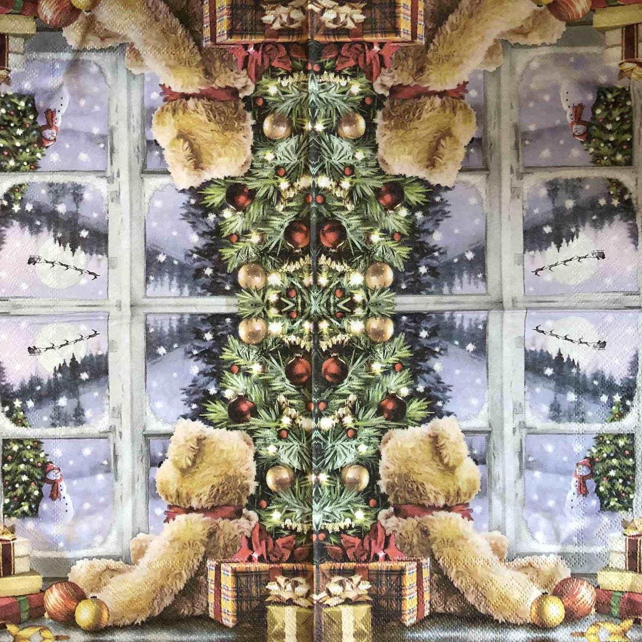 """Салфетка декупажная 33x33 см 28 """"Мишка Новый год Подарки Снег Зима Рождество"""" Серветка для декупажу Новорічна"""