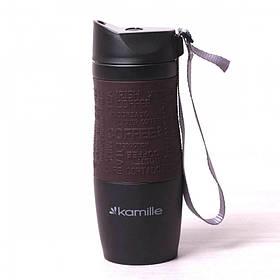 Термокружка Kamille 380 мл из нержавеющей стали Черная / Коричневая КМ-2052A