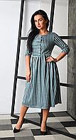Теплое платье в полоску с четырьмя пуговками, фото 1