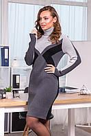 Красивое вязаное теплое платье до колена шерсть размер 42-48